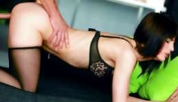Sexual brunette getting on her knees and her frozen cunt is pounded hard