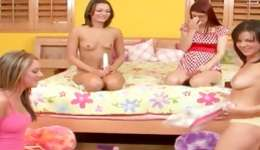 Hotie teen lassies on the floor striping and having fun with dirty dildos