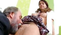Horrible grey bearded nasty man is giving the pleasant oral job to sweetie