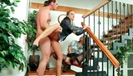 Kissable MMF on stairs with 2 jokey angels and an turned on fellow