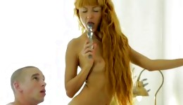Bright-haired pretty hooker is getting her messed up with a cock and a fake cock
