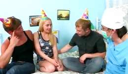 Pleasing blond is getting pussy examined and allured for rough kicking