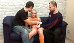 Enjoyable looking not mature sample is getting sexually ashamed by 2 foxy fellows