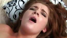 Brunette nasty doxy is getting her lips pressed with tremendous big penis
