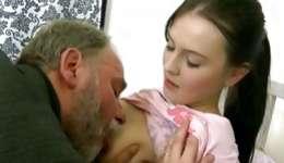 Wanna examine act of love between old senior and young bimbo?