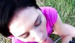 Shy abdl dark-haired chick showing her whoppers looks so passionate outdoor
