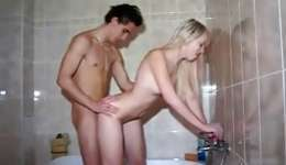 Sassy willingly blonde getting tight crack drilled in the bathroom rough