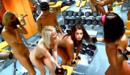 Naked babes in the gym exposing their boobs and getting owned hard