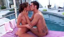 Playful brunette next to a pool getting her mouth drilled rough