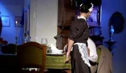 Elderly licentious man appetites toddler pretty woman dressed as a maid