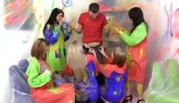 Watch funny colorful copulation between several sluts and one cute man