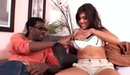 Hot brown-haired exotic damsel is getting pissed with a weighty black lollipop rough
